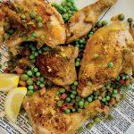 Recette de poulet à la peau croustillante et aux petits pois