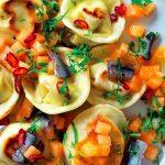 Recette Cappellacci de maigre aux anchois et melon