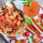 Recette Crevettes à la pâte de moutarde et au gaspacho d'agrumes