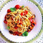 Recette de spaghettoni, moules et tomates cerises