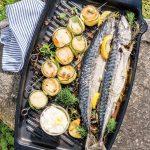 Recette Brochettes de maquereau au citron et romarin et pétoncles grillés